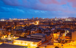 Night view of Barcelona from Badalona Royalty Free Stock Photography