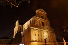Night view of the baroque facade of the church Royalty Free Stock Images