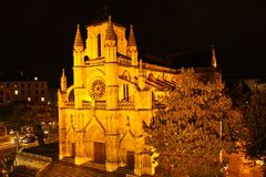 Night view on Basilica of Notre-Dame in Geneva. Basilica of Notre-Dame, Geneva, Switzerland Stock Photo