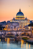 Night view of the Basilica St Peter in Rome, Italy Stock Photo