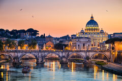 Night view of the Basilica St Peter in Rome, Italy Stock Image