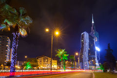 Night view of Batumi stock photos