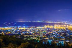 Night view of the bay of Haifa and the harbor Royalty Free Stock Photos