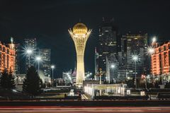 Night view of the Bayterek Tower, a landmark observation tower designed by architect Norman Foster in Astana, the royalty free stock image