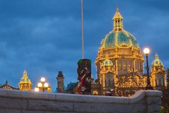 Night view of BC parliament building dome Royalty Free Stock Images