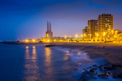 Night view of beach at Badalona Royalty Free Stock Images