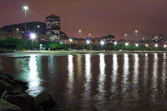Night view of beach Flamengo,  Rio de Janeiro Royalty Free Stock Images