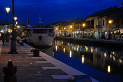 Night view of the beautiful canals of cesenatico Stock Photos
