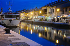 Night view of the beautiful canals of cesenatico Stock Images