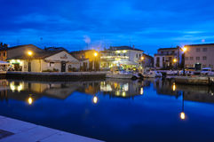 Night view of the beautiful canals of cesenatico Royalty Free Stock Photo