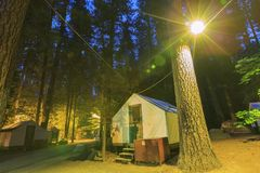 Night view of the beautiful Half Dome Village. In Yosemite National Park Royalty Free Stock Photography