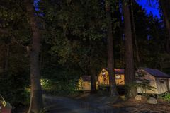 Night view of the beautiful Half Dome Village. In Yosemite National Park Royalty Free Stock Image