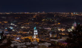 Night view on beautiful old city of Lviv - landscape Stock Image