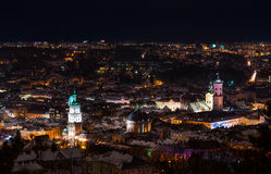Night view on beautiful old city of Lviv - landscape Royalty Free Stock Photography