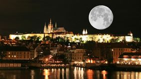 The night view of the beautiful Prague City Royalty Free Stock Photography