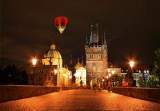 The night view of the beautiful Prague City Stock Photos