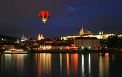 The night view of the beautiful Prague City stock image