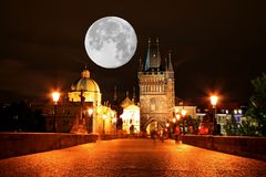 The night view of the beautiful Prague City Royalty Free Stock Images