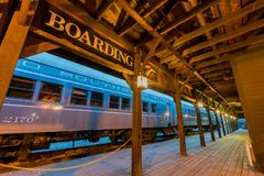 Night view of the beautiful reserve train station Royalty Free Stock Image