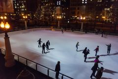 Night view of the beautiful ski area at Millennium Park, Chicago Stock Photo