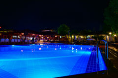 Night view of beautiful swimming pool in tropical resort. In Oludeniz Turkey Stock Photo
