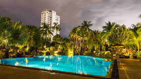 Night view of beautiful swimming pool in tropical resort , Phuket. Thailand Stock Photos