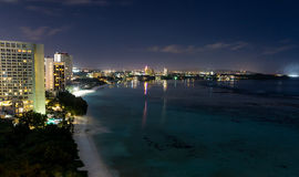 Night view of beautiful Tumon Bay. Guam Stock Photography