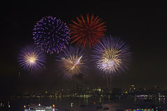 Night view and beauty of the fireworks  at Pattaya beach, Thaila Royalty Free Stock Photo
