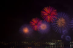 Night view and beauty of the fireworks  at Pattaya beach Royalty Free Stock Photos
