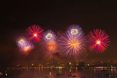 Night view and beauty of the fireworks  at Pattaya beach Royalty Free Stock Photography