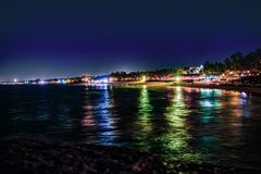 Night View Beauty of Sinquerim Beach, Goa, India stock image