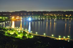 Night view of Bedok Reservoir (Singapore) Royalty Free Stock Images