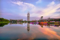View of National Stadium and Olympic Park Multi-Function Broadcasting Tower in Beijing China stock images