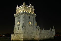 Night view belem tower. In lisbon Stock Photo