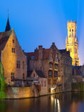 Night view on Belfort in Bruges Stock Photos