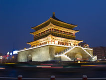 Night view of the Bell Tower in Xian Stock Images