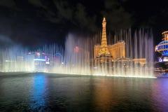 Night view of Bellagio fountain in famous Vegas Strip stock photos