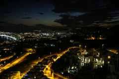 Night view upon Benalmadena from Stupa Stock Photos