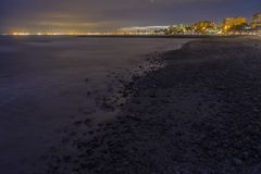 Night view of Benicassim town from the beach stock images