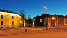 Night view of the Bicycle Parking in the period of white nights Royalty Free Stock Images