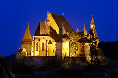 Night view of Biertan Fortified Church Royalty Free Stock Photography
