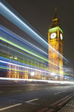 Night view of the Big Ben clock tower Stock Images