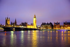Night view of Big Ben and Houses of Parliament, London UK Royalty Free Stock Photography