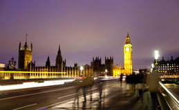 Night view of Big Ben and Houses of Parliament, London UK Royalty Free Stock Image