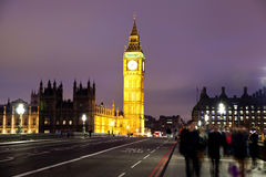 Night view of Big Ben and Houses of Parliament, London UK Stock Photography