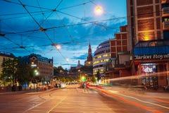Night View of Biskop Gunnerus gate street in Oslo Royalty Free Stock Photo
