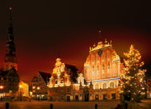 A night view of the blackheads house in riga Stock Photo
