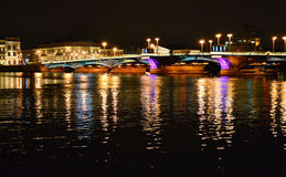 Night view of Blagoveshchensky Bridge Royalty Free Stock Image