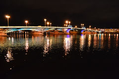 Night view of Blagoveshchensky Bridge Royalty Free Stock Photo