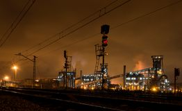 Night view of blast furnace equipment of the metallurgical plant. Veriña, Gijón, Spain royalty free stock photo